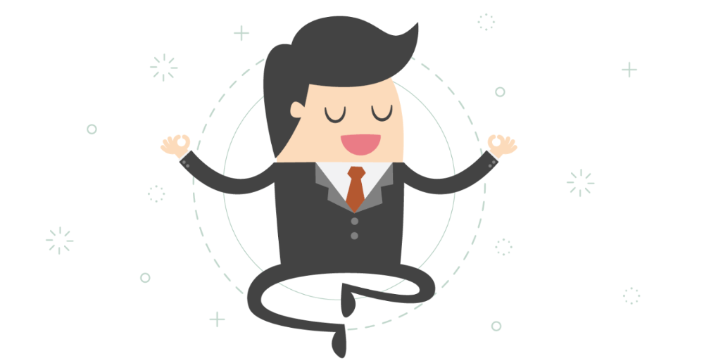 Drawing of a businessman in a yoga pose